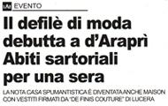 Defilè di moda alla d'Araprì